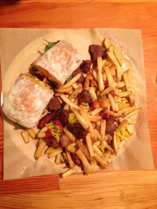 Lardo - Pork Meatball Bahn Mi & Dirty Fries (pork scraps, marinated peppers, fried herbs and parmesan)