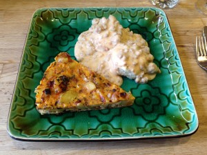 Buttermilk biscuits with chipotle sausage gravy and Spanish frittata
