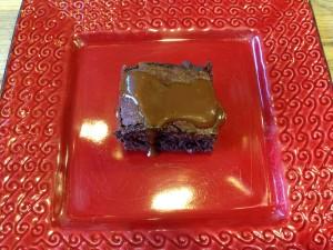 Belgian chocolate brownies with caramel sauce