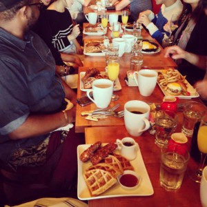 A row of chicken and waffles!