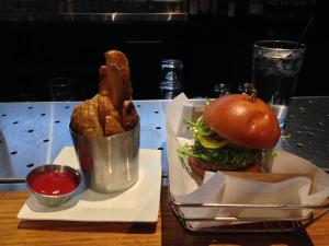 Lamb & Sirloin Burger: spicy pickles, frisee & harissa aioli